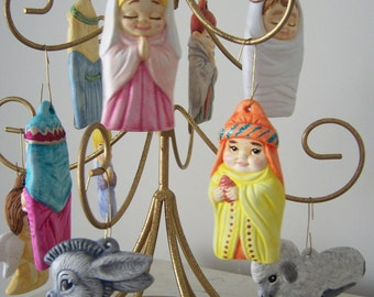 11 Piece Hand Painted Nativity for the Christmas Tree