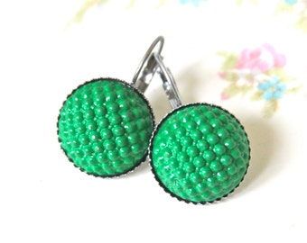 Green Round Glass Hobnail Drop Earrings - Bumpy Quilted Glass Silver Lever Back Drop Dangle -  Wedding, Bridal, Bridesmaid, Holiday