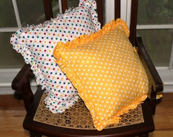 PIllows pair quilted ruffled polka dot in bright yellow, white with primary colors