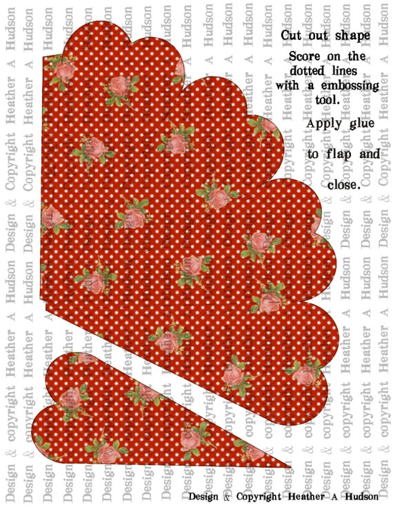 Romantic Roses Retro Red  dots Victorian Vintage Valentine's Day Heart Shaped Cone Tussie Mussie Digital Collage sheet Printable