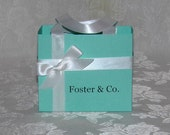 Set of 5 MEDIUM SIZE Personalized Tiffany Blue Gift Bags Favor Boxes other colors available