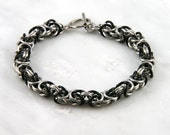 Black and Green Byzantine Chain Maille Bracelet