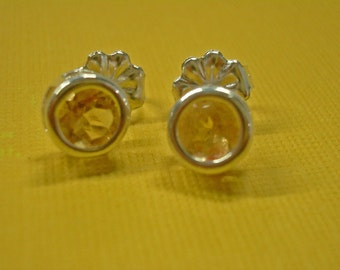 Citrine Earrings - Natural Citrine & Sterling Silver Post Earrings - November Birthstone Post Earrings