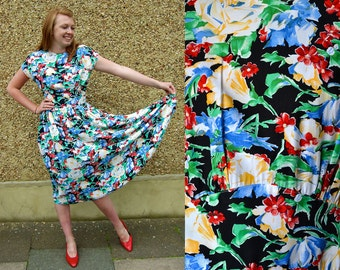80s tropical print summer sun dress with tie-back Size S UK 10 US 8