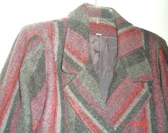 Vintage 1970's/80's Wool Blanket Striped Herringbone Red Grey Magenta Purple Pleated Sleeves Double Breasted Mid-Thigh Coat Womens L
