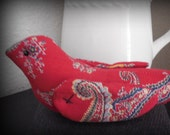 Red Paisley Fabric Bird on Wool PinKeep