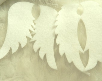 4 Pairs -- White Felt Angel Wings, 2mm Thickness, Decorations, Christmas, High Quality Polyester Fiber Made from Recycled Plastic Bottles