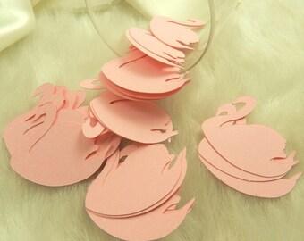 50 Pink Swans, Weddings, Anniversaries, Embellishments, Confetti, Decorations, Invitations, 1 inch