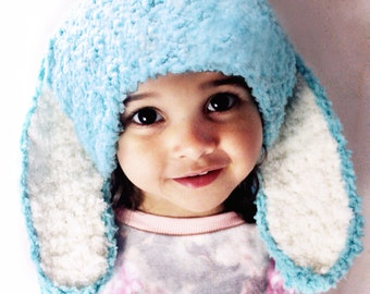 2T to 4T Mint Bunny Hat Childrens Beanie Unisex Bunny Ears Crochet Toddler Hat Spearmint Blue White Easter Rabbit Hat Halloween Costume Cij