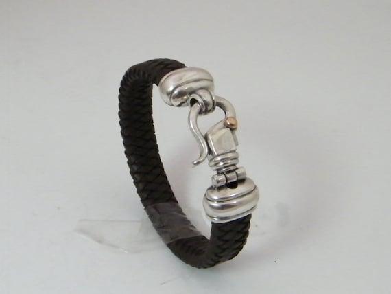Bracelet, braided leather ,dark brown, for men,women,brown braided leather, Classic Lock,Christmas gift,cremerdani,free express shipping