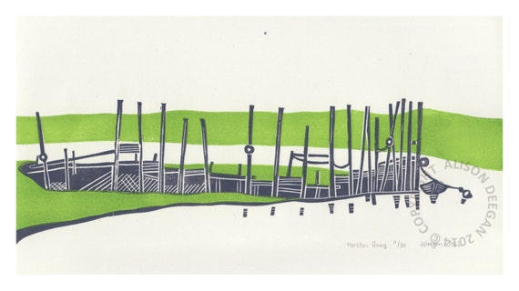 MORSTON QUAY lino print Norfolk jetty coast marsh creek