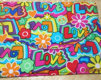 LOVE, Peace sign, Flower Power, hearts, 60's 70's cotton fabric, 8 1/4 x 8 large Pouch, inside Pocket,  Envelope, Clutch bag 7x3,
