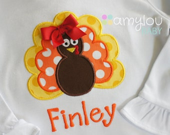 Turkey Personalized Thanksgiving Shirt -Orange and Yellow -  Monogram Toddler Tee - Short or Long Sleeves - Baby Girl - Fall - Child