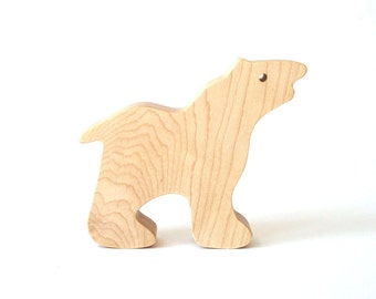 Large Wooden Polar Bear Waldorf Toy Maple Child Safe Zanzibar Zoo