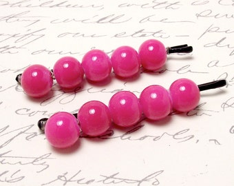 Hot Pink Beaded Hair Accessory. Magenta Hair Clip Barrettes. Pink Bobby Pins Set for Wedding or Bridesmaids.
