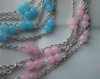 6 Feet Glass Beaded Silver Chain, Vintage 6 mm Smooth Round Pink or Baby Blue Glass Beads