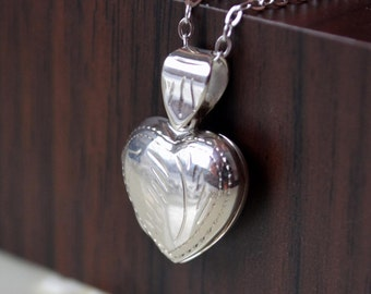 Sterling Silver Locket Necklace, Heart Shaped Engraved, Child Children, Valentines Day, Simple Birthstone Jewelry