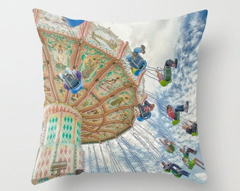 Pillow Cover, Carnival Swing, Surreal, Whimsical, Blue, Clouds, Decorative Throw Pillow Cover, fPOE, 16x16, 18x18, 20x20