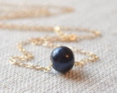 Black Pearl Choker, Gold Necklace, Genuine Round Freshwater, Floating, Minimalist, Simple Jewelry, Free Shipping
