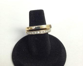 Gold Tone Rhinestone Ring Size 5.5