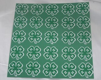 4-H 12x12 Clover and dots in green