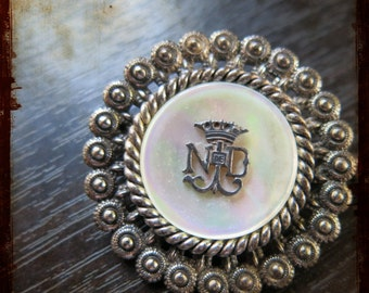 Antique Large French Silver Brooch from Lourdes NDL Monogram - Vintage large pin from South of France