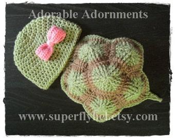 Turtle Photo Prop Set, Baby Turtle Photography Prop, Infant Prop, Turtle Hat and Shell Set, Crochet Prop, Little Hatchling