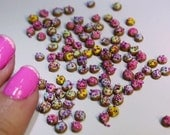 Rainbow Miniature donuts (20pcs) with micro caviar nail art pearls for nail art, scrapbooking, cupcakes, cakes, dollhouse