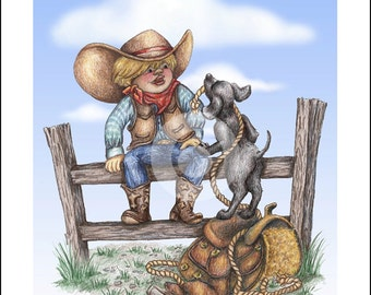 """Cowboy Art Print """"Fence Time"""" by Cheri Turk"""