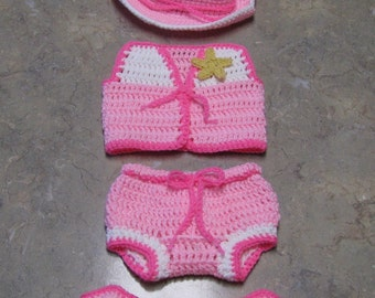 Cowgirl hat / vest / pant / boot  set - crochet - newborn size - photo prop / costume
