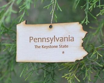 Natural Wood Pennsylvania State Ornament