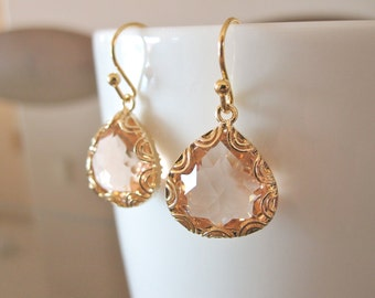 Champagne Peach Faceted Glass Drop Earrings