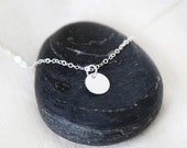 Tiny Sterling Silver Disc Necklace - Everyday modern simple jewelry