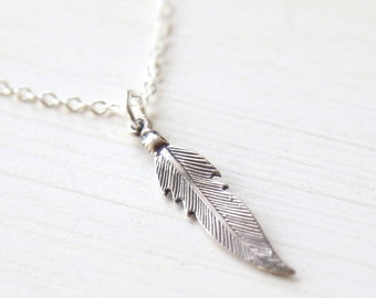 Modern Sterling Silver Feather Necklace - simple minimalist jewelry
