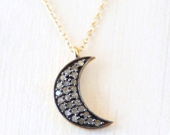 Pave Diamond Moon Necklace / 14K gold filled / modern simple luxe everyday jewelry