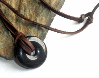 Black Obsidian Donut Necklace  Adjustable Leather Surfer Unisex earthegy