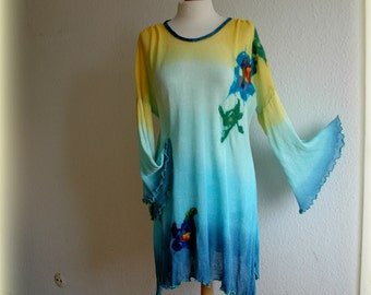 LINEN Asymmetric  Sunny Turquoise  Hand Dyed  Blue Yellow Tunic  Knitted  With Felt Flower Application Eco Friendly Clothing Plus Size