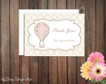 Thank You Cards - Hot Air Balloons with Shabby Chic Damask Background - Set of 10 with Envelopes