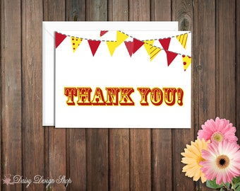 Thank You Cards - Circus Pennant Banner - Set of 10 with Envelopes