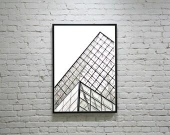 Unique PARIS Photography LOUVRE Glass. The Louvre Museum Photo, Black, White, Paris Architecture, Still Life, Triangle Architecture,