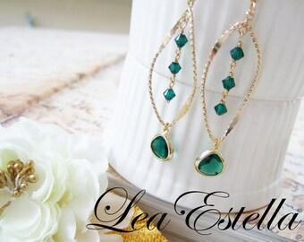 Green with Envy Earrings, Green Swarovski Crystal Earrings, Emerald Green Bridal Earrings, Green elegant dangle earrings - Green with Envy