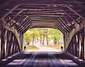 MAINE Photography - HEMLOCK Wooden Covered Bridge in FRYEBURG Print, New England Travel Art, Structure, Architecture, Historical, autumn