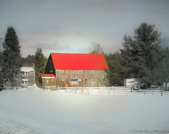 MAINE Photography ~ DENMARK Maine BARN Architecture Red Roof Winter New England Travel Snow Nature Seasonal Landscape Rural Country