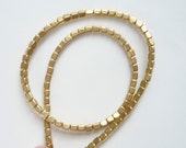 Gold plated  brass rectangle tube beads spacer bead (4x3mm)