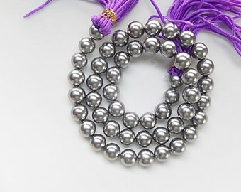 8mm  Gray color shell pearls, full strand