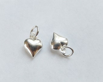 2 pcs Sterling silver puffy heart charm (8x11mm)