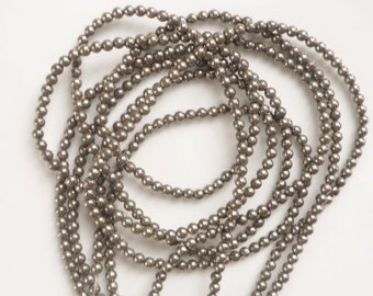 3mm Pyrite round beads FULL STRAND