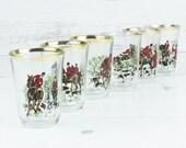 Vintage shot glasses - Fox Hound Hunt Horse English Glassware Barware Serving