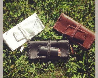 Leather Roll Stash Pouch with Lighter Sleeve
