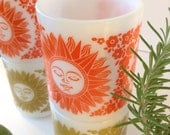 Set of 4, Milk glass, Gold and Orange, Stacking Celestial sun coffee mugs